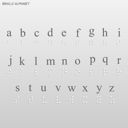 Illustration of the braille alphabet on a light background.