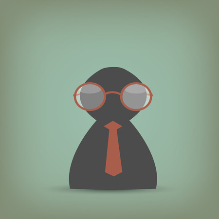 mens: Illustration of a business person with reading glasses on a vintage background.