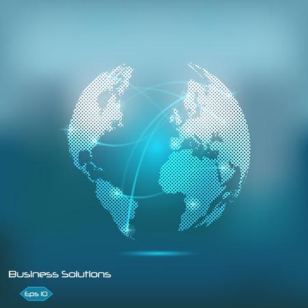 Illustration d'un globe terrestre lumineux sur un fond bleu coloré. Banque d'images - 34772826