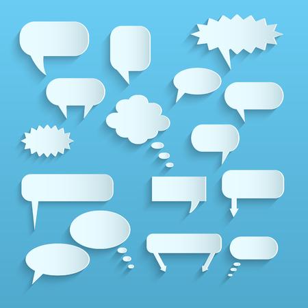 Illustration of paper chat bubbles against a light . 일러스트