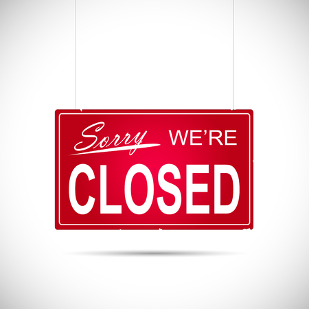Illustration of an business Closed sign isolated on a white .