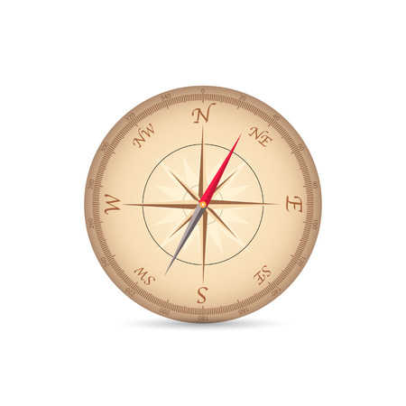 copper magnet: Illustration of a vintage compass isolated on a white .