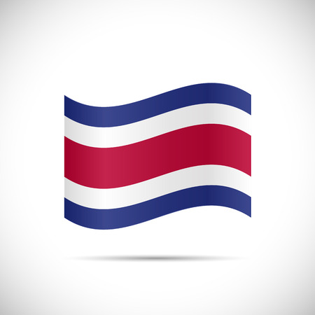 Illustration of the flag of Costa Rica isolated on a white background. Stock Illustratie