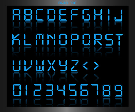 clock: Illustration of a colorful blue digital font. Illustration