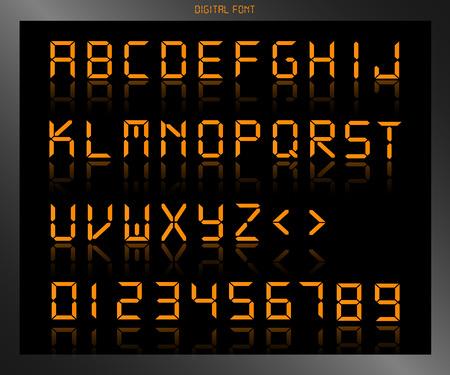 digital clock: Illustration of a colorful orange digital font. Illustration