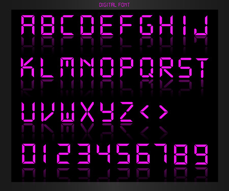 Illustration of a colorful pink digital font on a dark background.