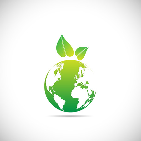 흰색 배경에 고립 된 친환경 녹색 지구 디자인의 그림입니다.
