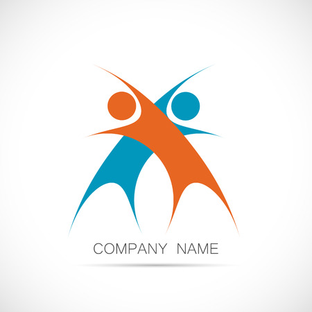 Illustration of a logo design of two abstract figures isolated on a white background. Ilustracja