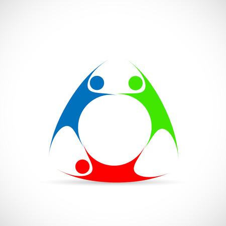 Illustratie van drie abstracte figuren die op een witte achtergrond. Stock Illustratie