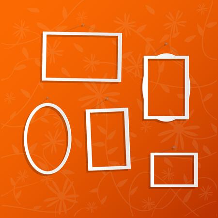 Illustration of hanging white frames on a colorful orange background. Vector