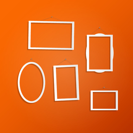 modern interior: Illustration of hanging white frames on a colorful orange background.