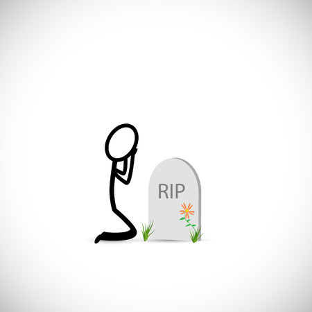 Illustration of a person mourning over a gravestone isolated on a white background. Illustration