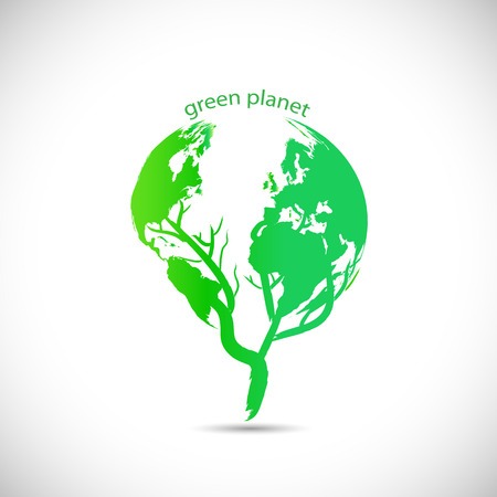 earth logo: Illustration of a green planet design isolated on a white background.