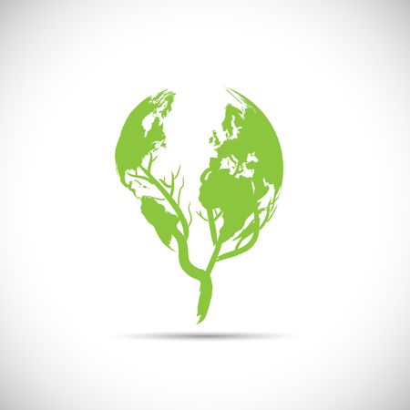 globe logo: Illustration of a green planet design isolated on a white background.