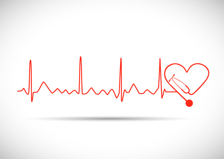 Illustration of a heart monitor wave with stethoscope isolated on a white background. Çizim