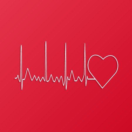 Illustration of a heart monitor wave on a colorful red background.