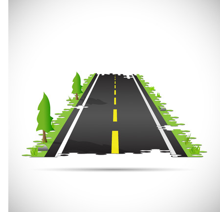 interlock: Illustration of a highway made of puzzle pieces isolated on a white background.