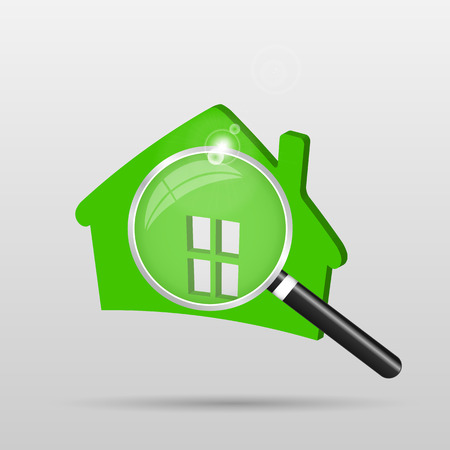 building inspector: Illustration of a green house and magnifying glass isolated on a light background.
