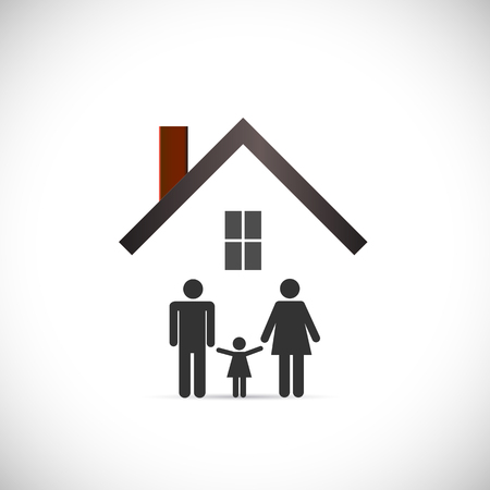 Concept image of a family under an abstract house design isolated on a white background.