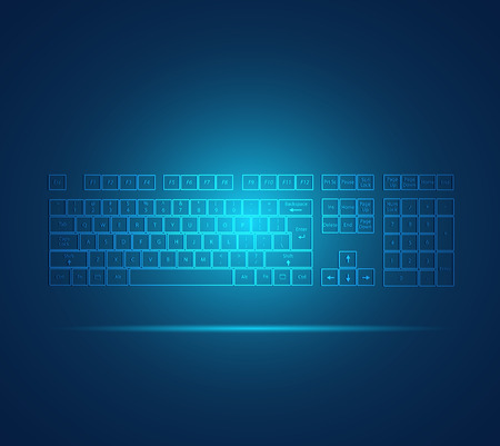key board: Illustration of a glowing keyboard design on a colorful background.