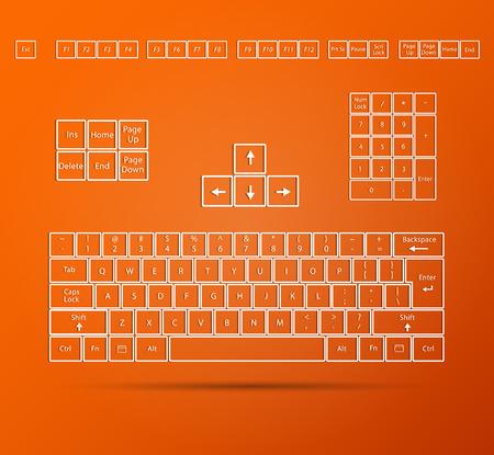 色鮮やかなオレンジ色の背景に抽象的なキーボードの図。