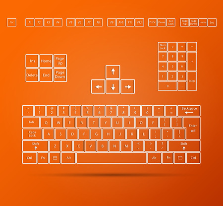 Illustration of an abstract  keyboard on a colorful orange background. Ilustração