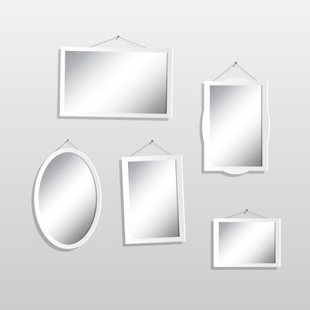 Illustration of hanging mirrors on a light background. Ilustração