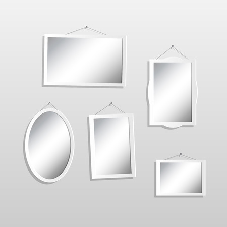 mirror on wall: Illustration of hanging mirrors on a light background. Illustration