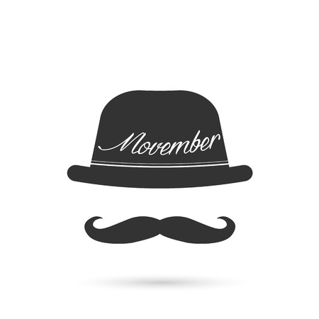 mustaches: Illustration of hat and mustache isolated on a white background. Illustration