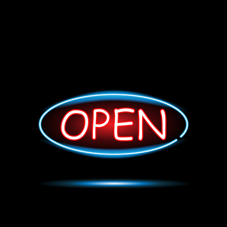 Illustration of an Open neon sign against a dark background. Vectores