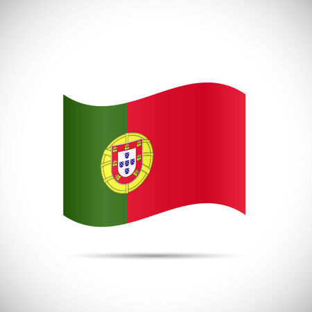 Illustratie van de vlag van Portugal op een witte achtergrond.