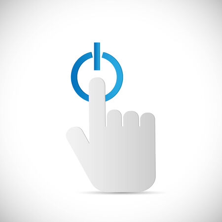 Abstract illustration of a finger pushing a power button isolated on a white background. Vector