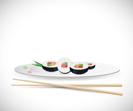 Illustration of sushi and chopsticks isolated on a white background.  イラスト・ベクター素材