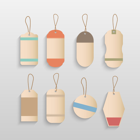 luggage tag: Illustration of colorful blank tags isolated on a white background.