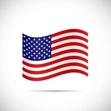 Illustration of the flag of United States of America isolated on a white background.