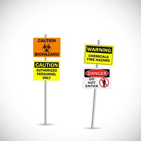 poison sign: Illustration of warning and caution signs isolated on a white background. Illustration