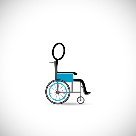 wheel chair: Illustration of a person in a wheelchair isolated on a white background.