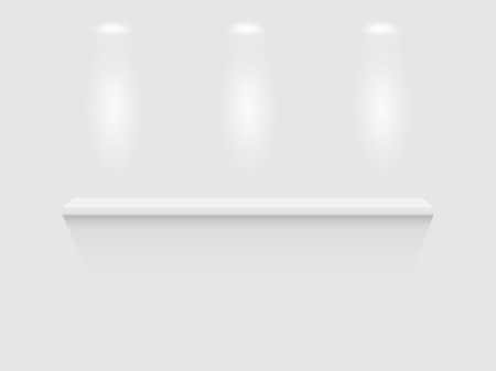 showcase: Illustration of a shelf isolated on a white wall background. Illustration