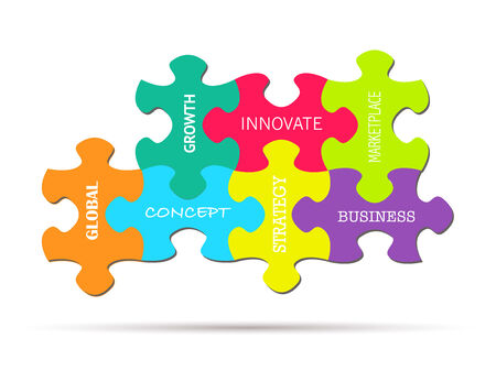 work piece: Illustration of colorful puzzle pieces with business concepts isolated on a white background.