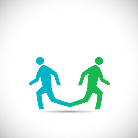 Illustration of an abstract design of two running figures isolated on a white background. Vector