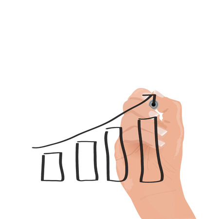 going up: Image of a hand drawing a sales chart going up.