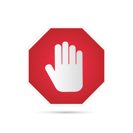 stop hand: Illustration of a stop sign with hand isolated on a white background.