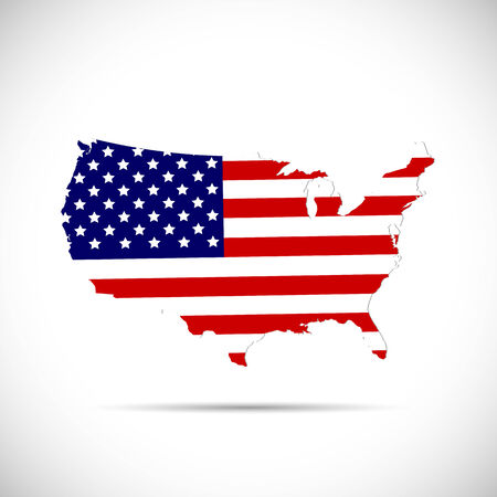 Illustration of the flag of the United States of America on a map isolated on a white background. Vector