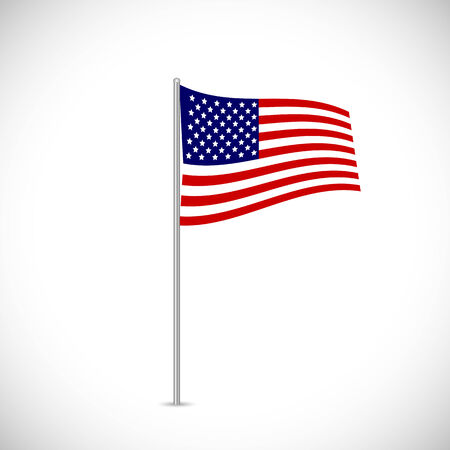 flagpole: Illustration of the flag of the USA isolated on a white background.