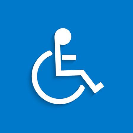 Illustration du symbole de fauteuil roulant sur un fond bleu coloré. Banque d'images - 34780570