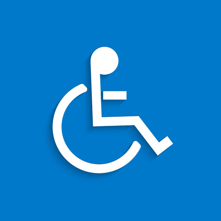 disabled parking sign: Illustration of the wheelchair symbol on a colorful blue background.