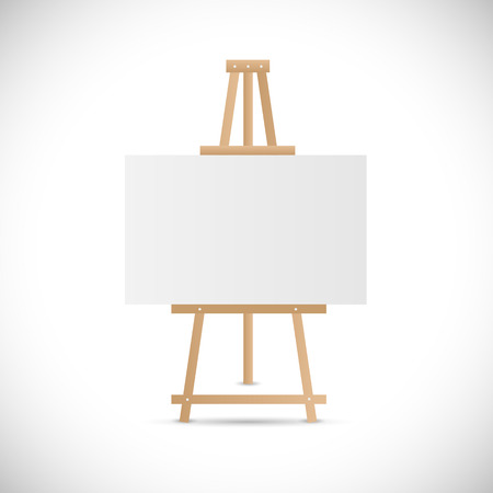 Illustration of a wooden easel isolated on a white background. Vector