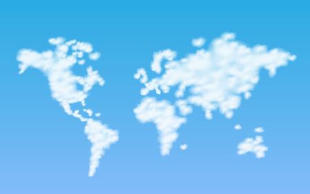 Illustration of a world map of clouds with a sky background. Ilustração