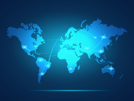 Illustration of a colorful glowing world map background. Stock Illustratie