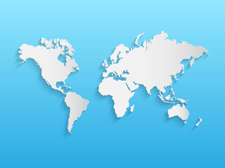 world atlas: Illustration of a world map on a paper background.